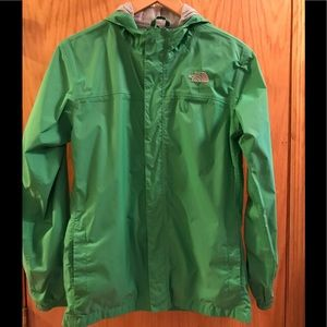 The north face green HyVent Hooded jacket!